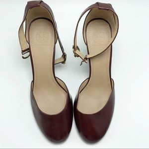 Tory Burch Berry Brown Leather Wedges